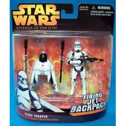 Clone trooper with firing jet backpack