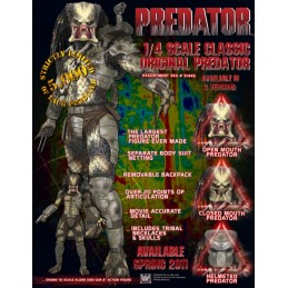 Predator scale 1/4 unmasked closed mouth
