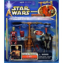 C-3PO with droid factory assembly line
